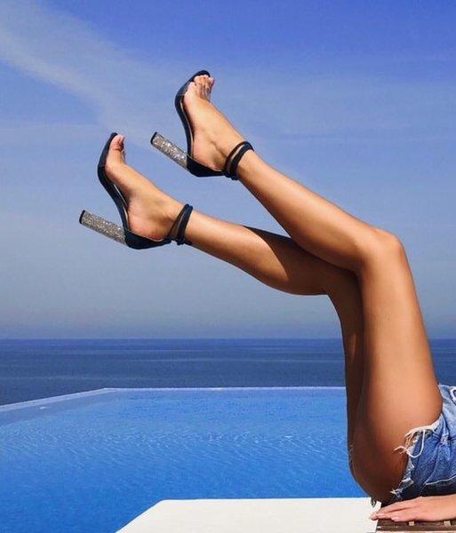 Велурени сандали кристали EMIRATES - сини